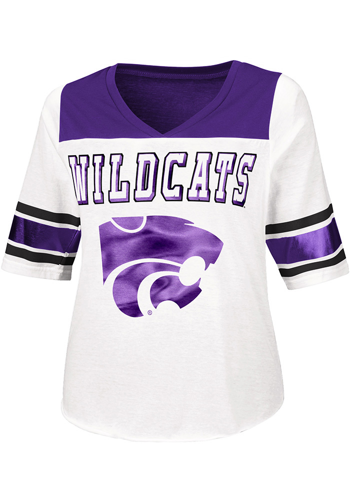 K-State Wildcats Womens White Touchdown Tee Short Sleeve Plus Tee - Image 1