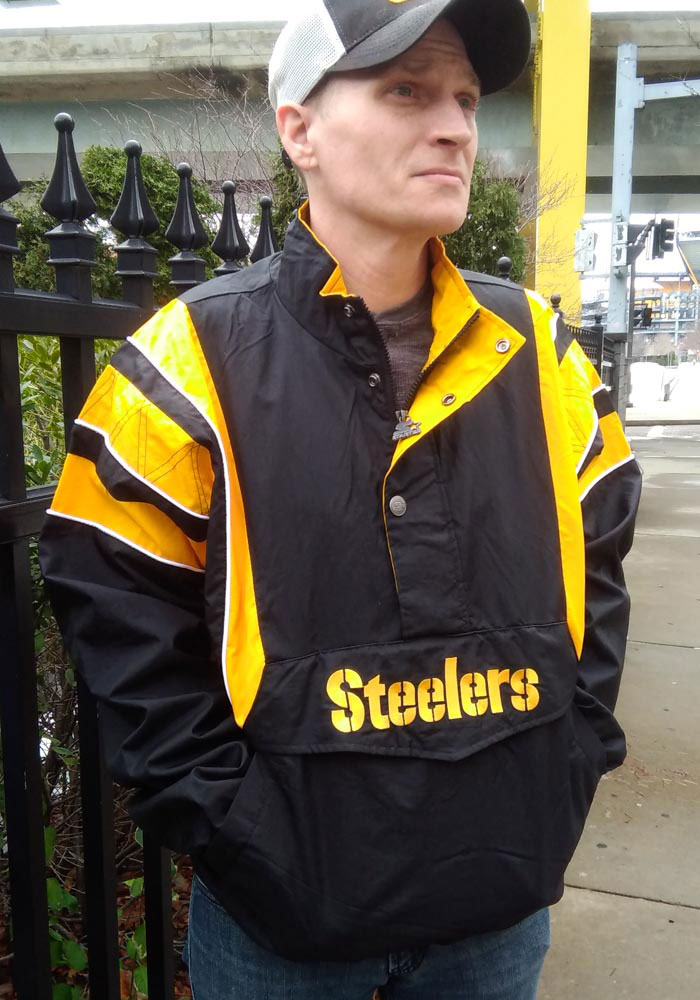 Starter Pittsburgh Steelers Mens Black Impact Pullover Jackets - Image 3