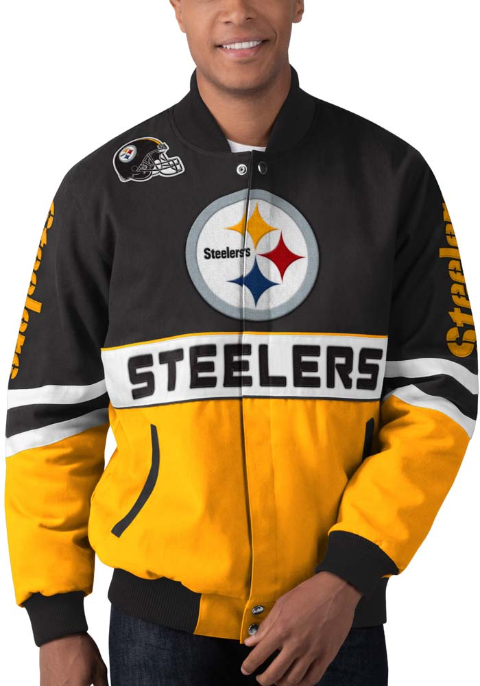 Pittsburgh Steelers Mens Black Strong Arm Heavyweight Jacket - Image 1