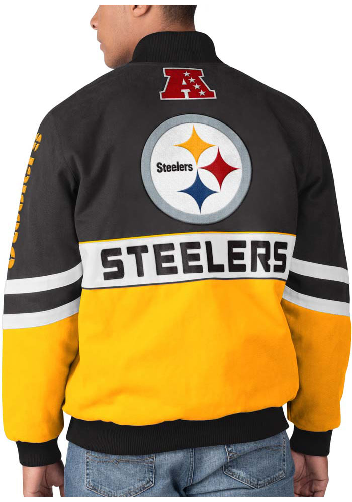 Pittsburgh Steelers Mens Black Strong Arm Heavyweight Jacket - Image 2