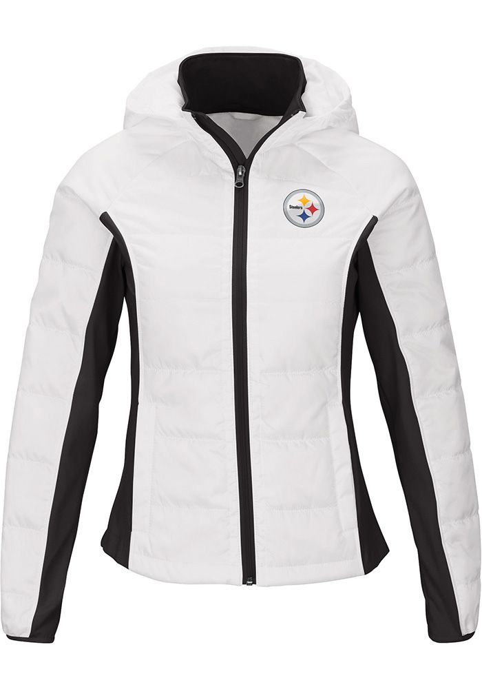 Pittsburgh Steelers Womens White Defense Polyfill Heavy Weight Jacket - Image 1