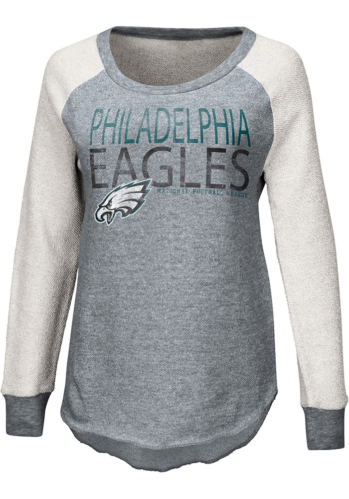 Philadelphia Eagles Womens Grey Gridiron Crew Sweatshirt - Image 1