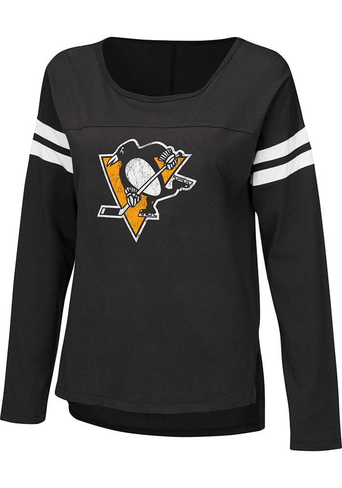 Pittsburgh Penguins Womens Black Free Agent LS Tee - Image 1
