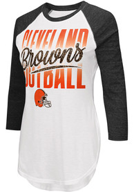 Cleveland Browns Womens Tailgate 3/4 Raglan Crew Neck T-Shirt - White