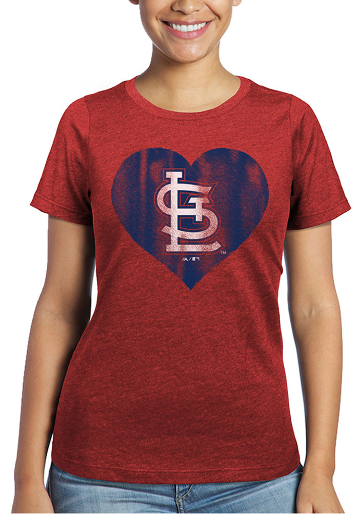 St Louis Cardinals Womens Red Heart Short Sleeve T-Shirt - Image 1
