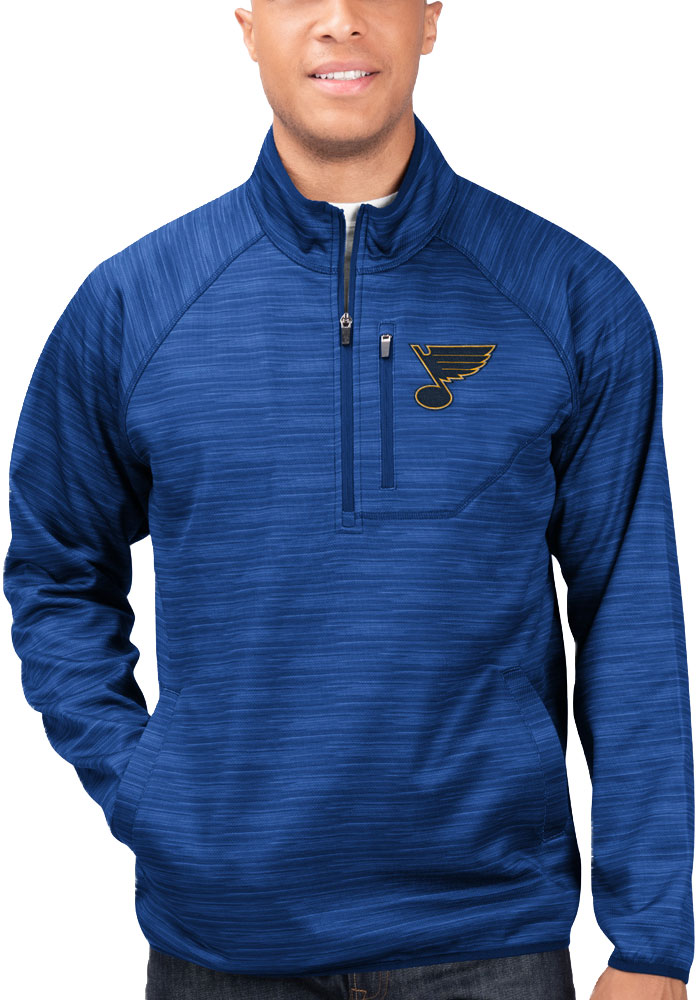 St Louis Blues Mens Blue Power Play Long Sleeve 1/4 Zip Pullover - Image 1
