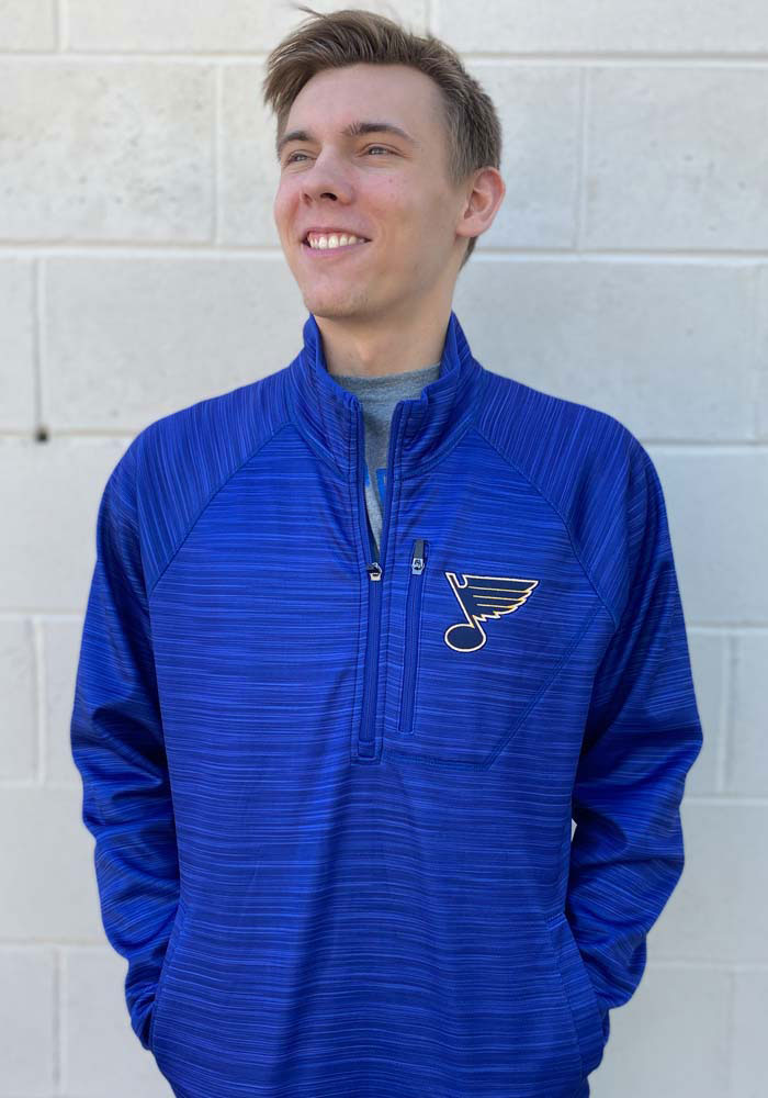 St Louis Blues Mens Blue Power Play Long Sleeve 1/4 Zip Pullover - Image 2