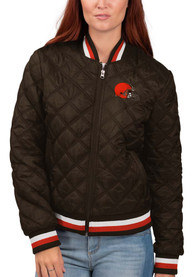 Cleveland Browns Womens Goal Line Heavy Weight Jacket - Brown