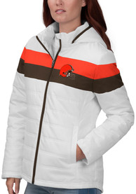 Cleveland Browns Womens Tie Breaker Heavy Weight Jacket - White