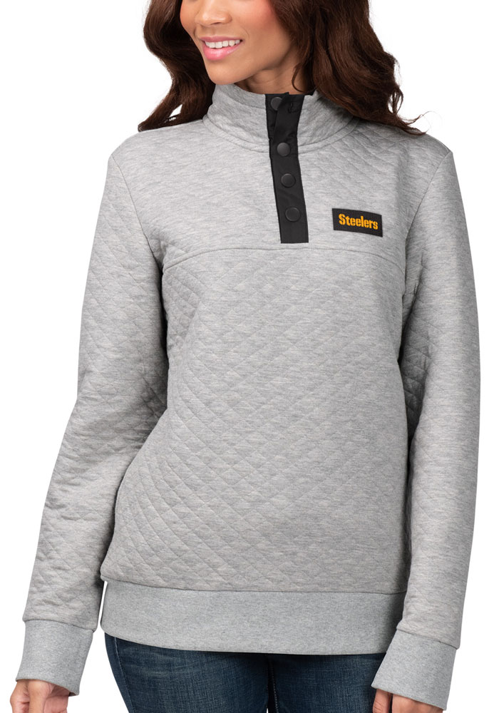 Pittsburgh Steelers Womens Grey First Hit 1/4 Zip Pullover - Image 1