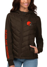 Cleveland Browns Womens Playoff Heavy Weight Jacket - Brown