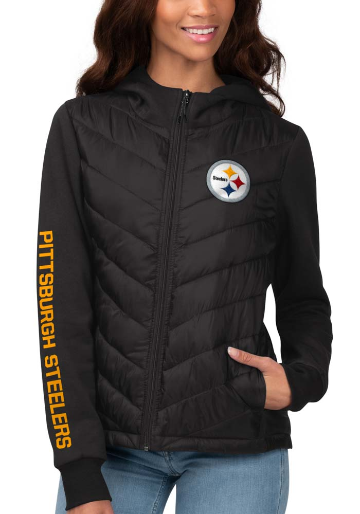 Pittsburgh Steelers Womens Black Playoff Heavy Weight Jacket - Image 1