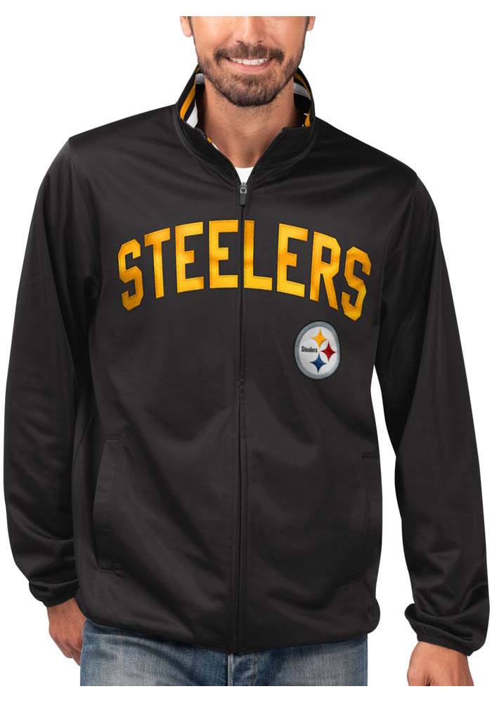 Pittsburgh Steelers Mens Black Double Play Track Jacket - Image 1