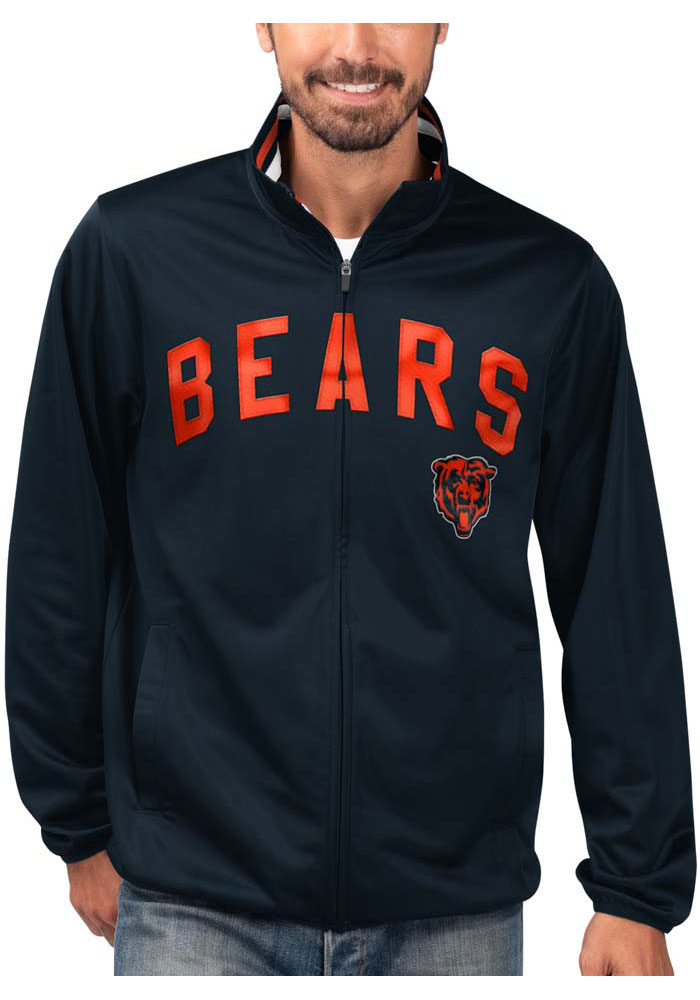Chicago Bears Mens Navy Blue Double Play Track Jacket - Image 1
