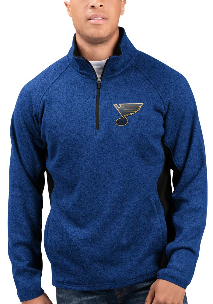 St Louis Blues Mens Blue Centerfield Long Sleeve 1/4 Zip Pullover - Image 1