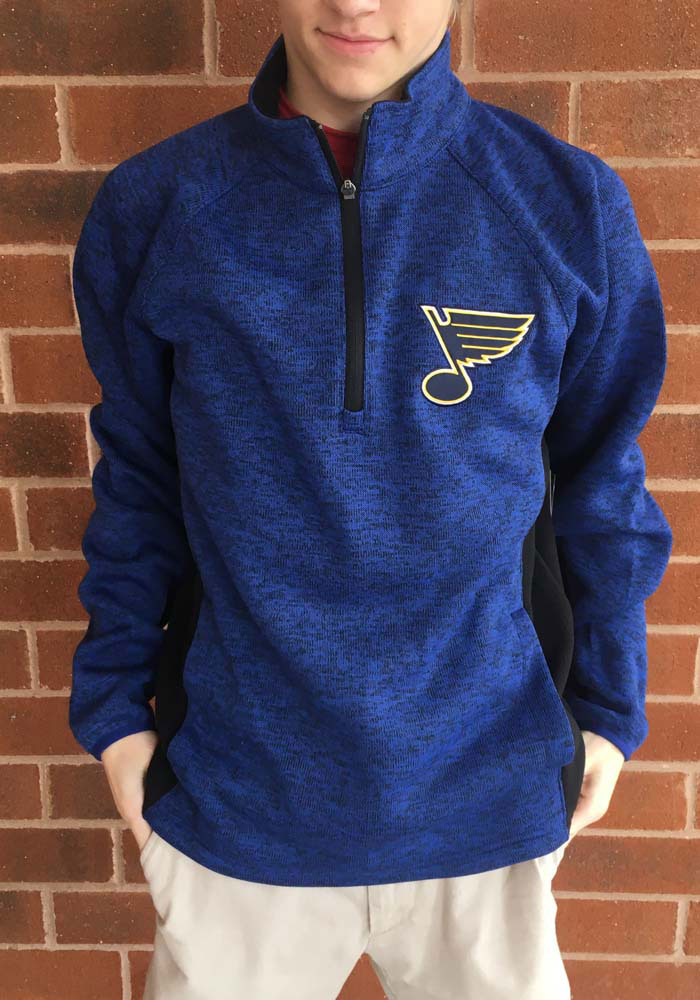 St Louis Blues Mens Blue Centerfield Long Sleeve 1/4 Zip Pullover - Image 2