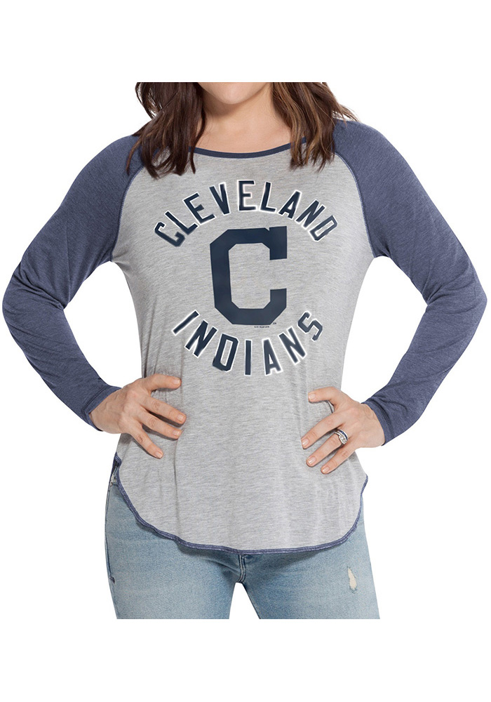 Cleveland Indians Womens Grey Line Drive Long Sleeve Women's Scoop - Image 1