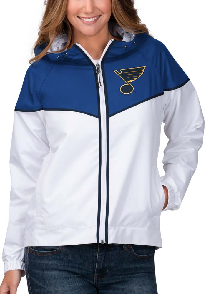 St Louis Blues Womens White Opening Day Light Weight Jacket - Image 1