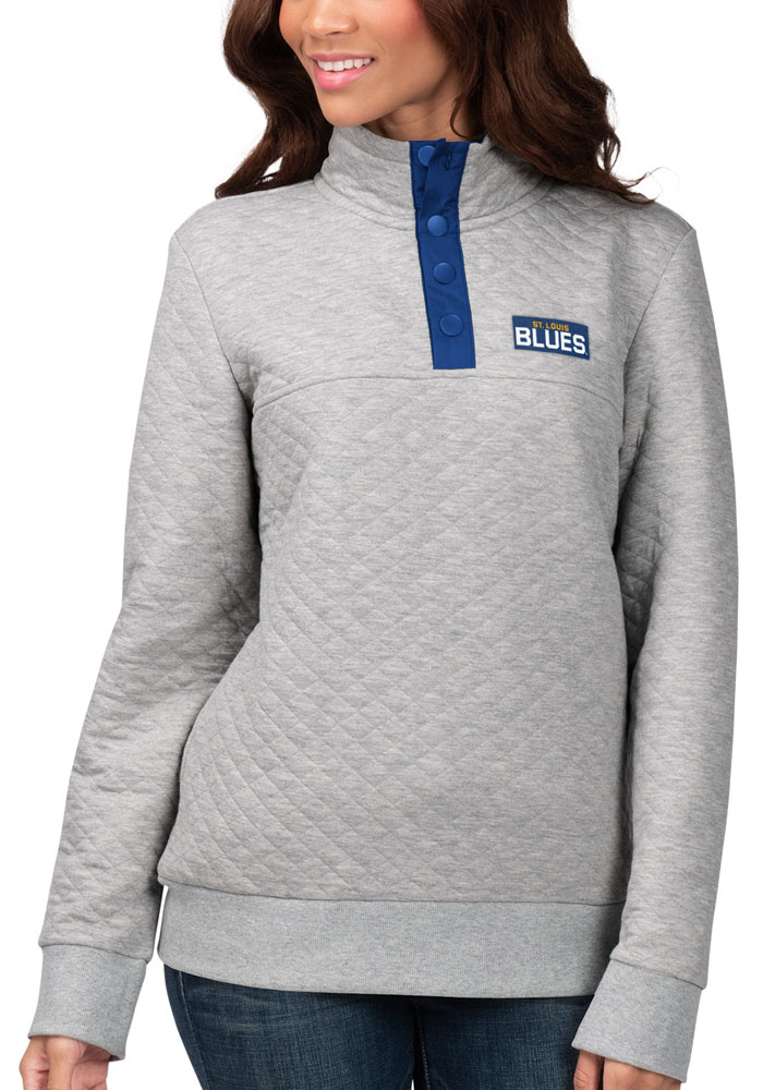 St Louis Blues Womens Grey First Hit 1/4 Zip Pullover - Image 1