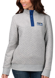 St Louis Blues Womens First Hit 1/4 Zip Pullover - Grey
