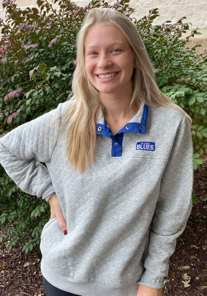 St Louis Blues Womens Grey First Hit 1/4 Zip Pullover - Image 2
