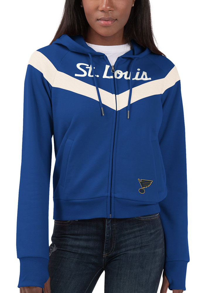 St Louis Blues Womens Blue Perfect Game Long Sleeve Full Zip Jacket - Image 1
