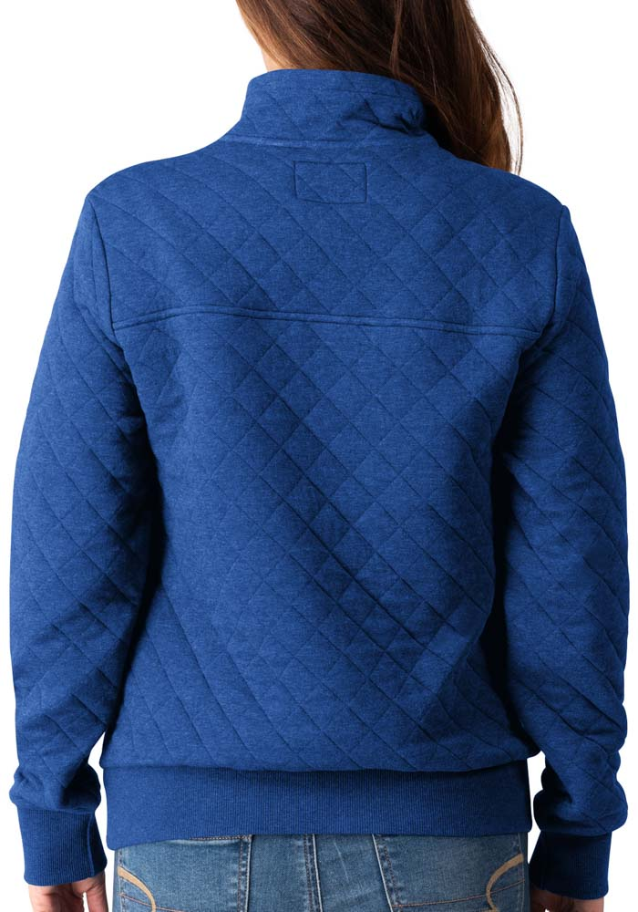 Kansas City Royals Womens Blue Face Off Knit Pullover 1/4 Zip Pullover - Image 2