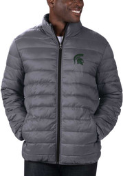 Michigan State Spartans Mens Charcoal Yard Line Heavyweight Jacket