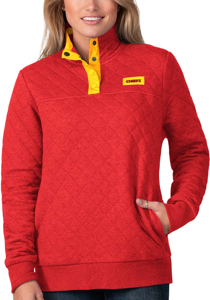 Kansas City Chiefs Womens Red Face Off 1/4 Zip Pullover - Image 1