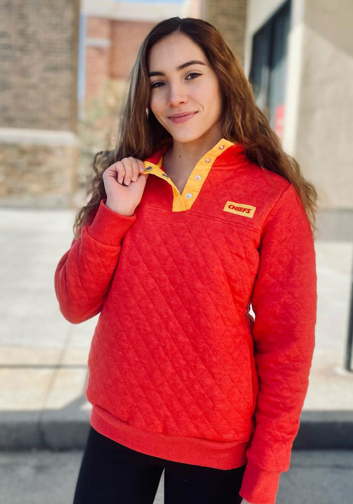 Kansas City Chiefs Womens Red Face Off 1/4 Zip Pullover - Image 3