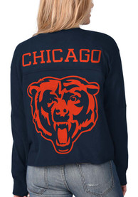 Chicago Bears Womens Fight Song Cropped Crew T-Shirt - Navy Blue