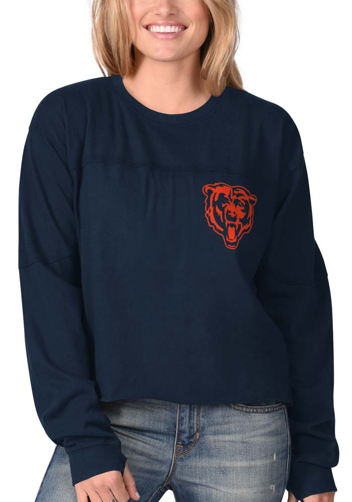 Chicago Bears Womens Navy Blue Fight Song Cropped Crew LS Tee - Image 2