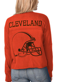 Cleveland Browns Womens Fight Song Cropped Crew T-Shirt - Orange