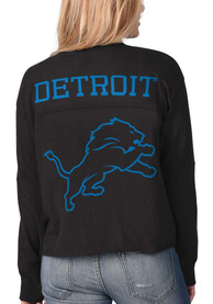 Detroit Lions Womens Fight Song Cropped Crew T-Shirt - Black