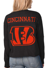 Cincinnati Bengals Womens Fight Song Cropped Crew T-Shirt - Black