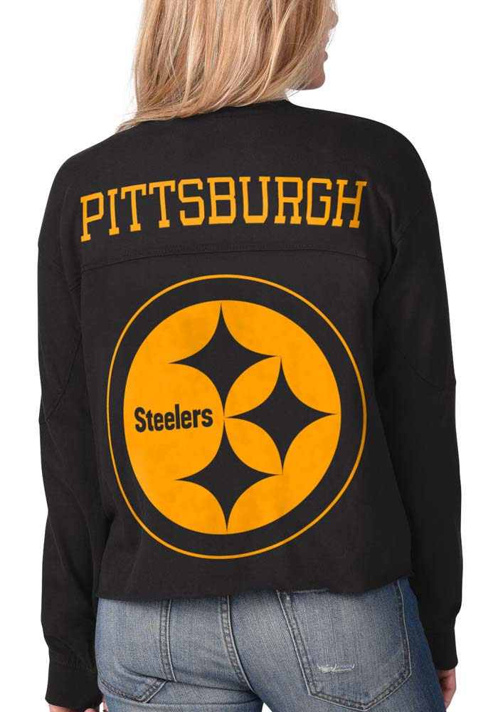 Pittsburgh Steelers Womens Black Fight Song Cropped Crew LS Tee - Image 1