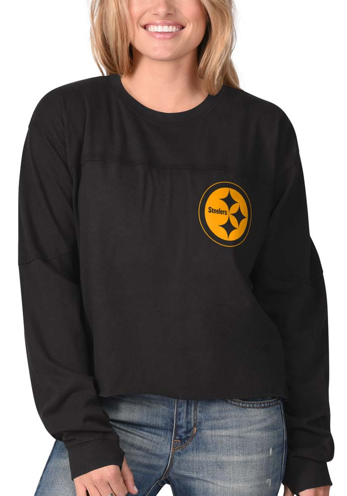 Pittsburgh Steelers Womens Black Fight Song Cropped Crew LS Tee - Image 2