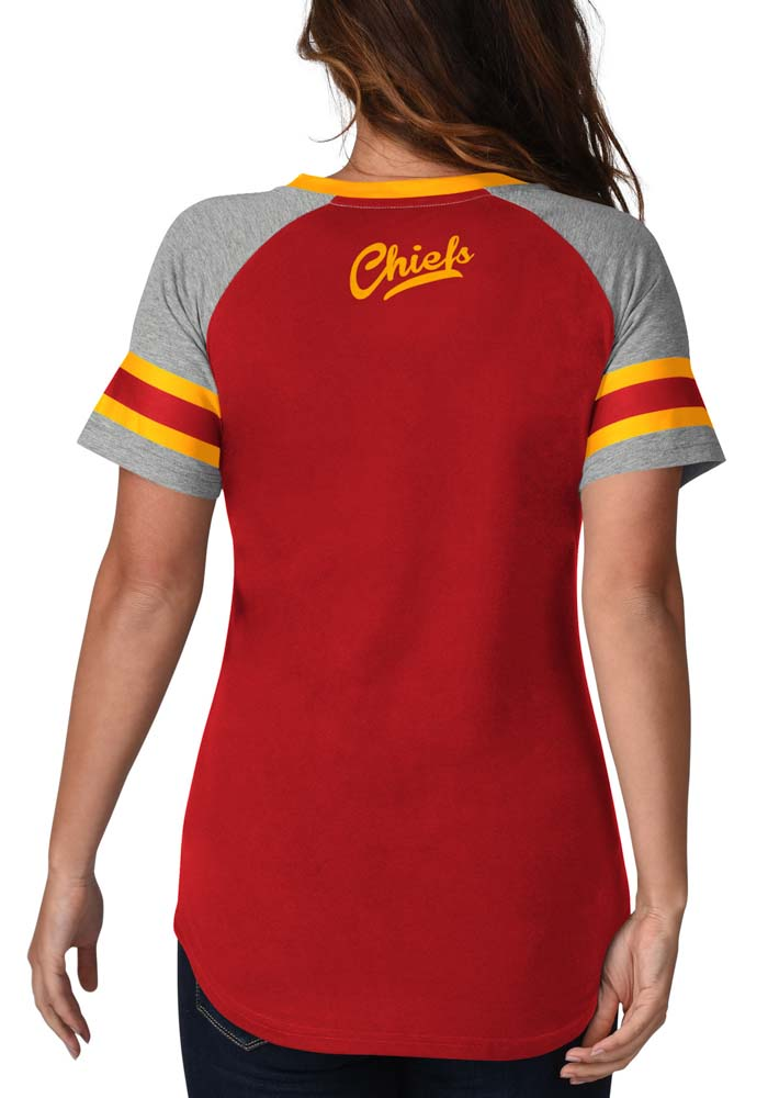 Kansas City Chiefs Womens Red Fade Route Short Sleeve T-Shirt - Image 2