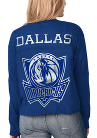 Dallas Mavericks Womens Fight Song Cropped Crew T-Shirt - Blue