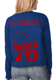 Philadelphia 76ers Womens Fight Song Cropped Crew T-Shirt - Blue