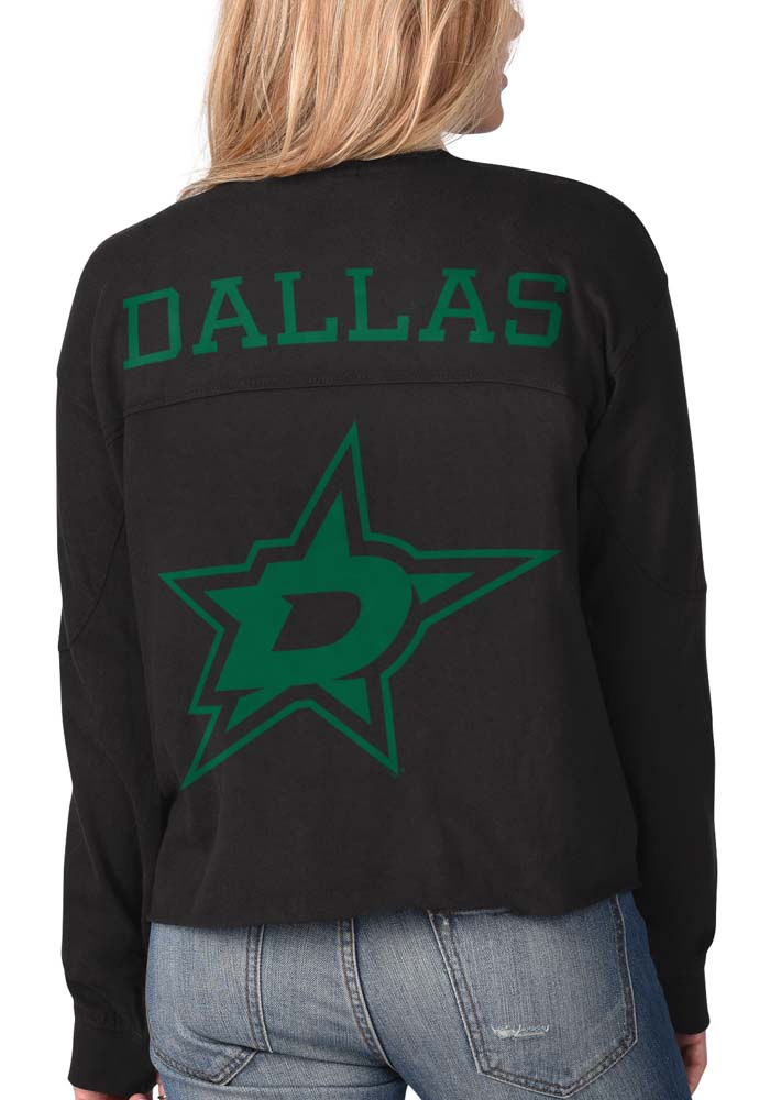 Dallas Stars Womens Black Fight Song Cropped Crew LS Tee - Image 1