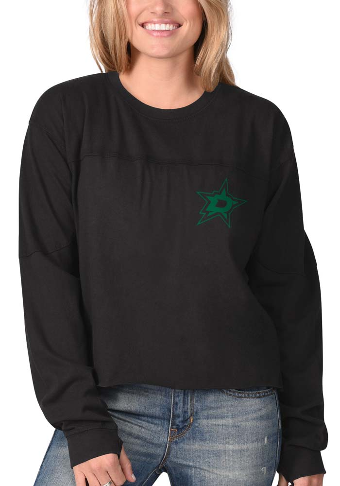 Dallas Stars Womens Black Fight Song Cropped Crew LS Tee - Image 2