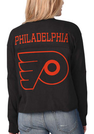 Philadelphia Flyers Womens Fight Song Cropped Crew T-Shirt - Black
