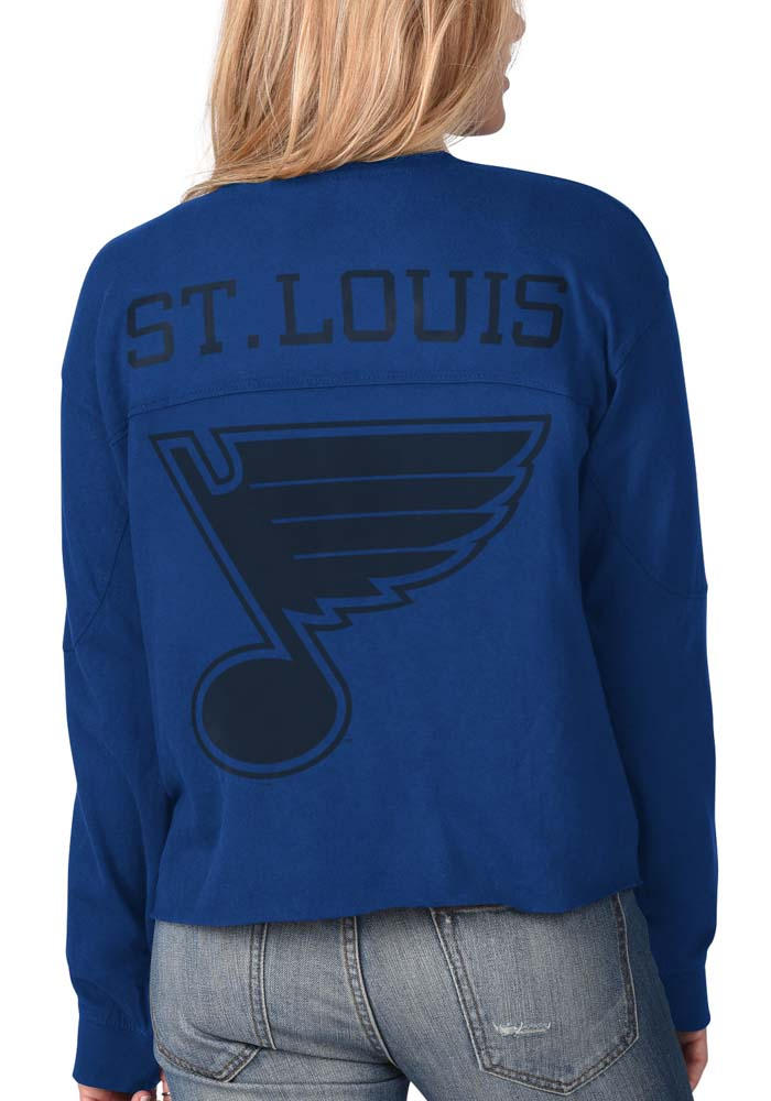 St Louis Blues Womens Blue Fight Song Cropped Crew LS Tee - Image 1
