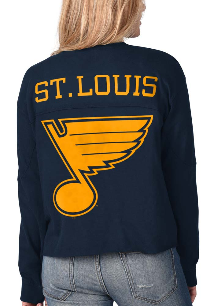 St Louis Blues Womens Navy Blue Fight Song Cropped Crew LS Tee - Image 1