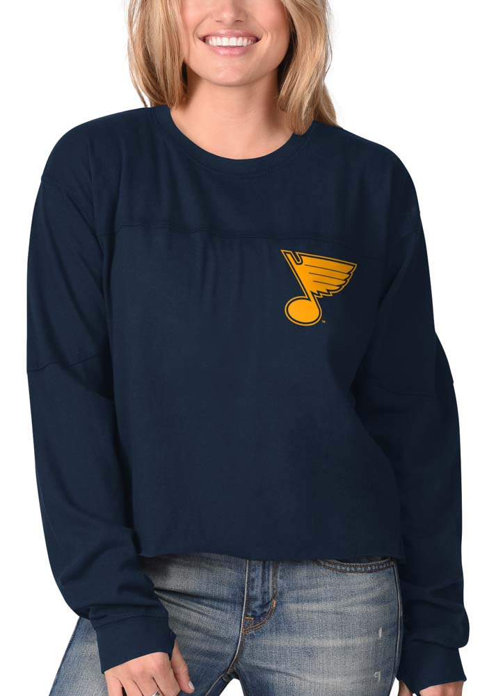 St Louis Blues Womens Navy Blue Fight Song Cropped Crew LS Tee - Image 2
