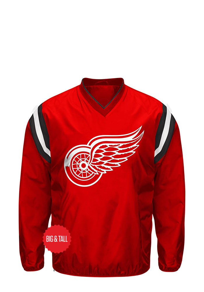 Detroit Red Wings Mens Red Bullpen Big and Tall Light Weight Jacket - Image 1