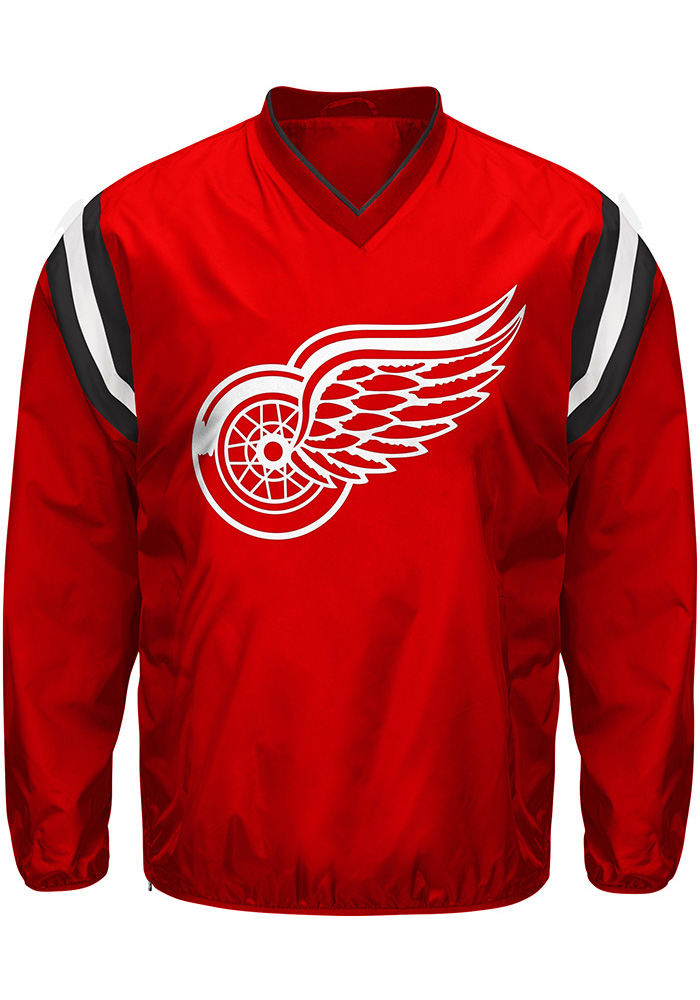 Detroit Red Wings Mens Red Bullpen Pullover Jackets - Image 1
