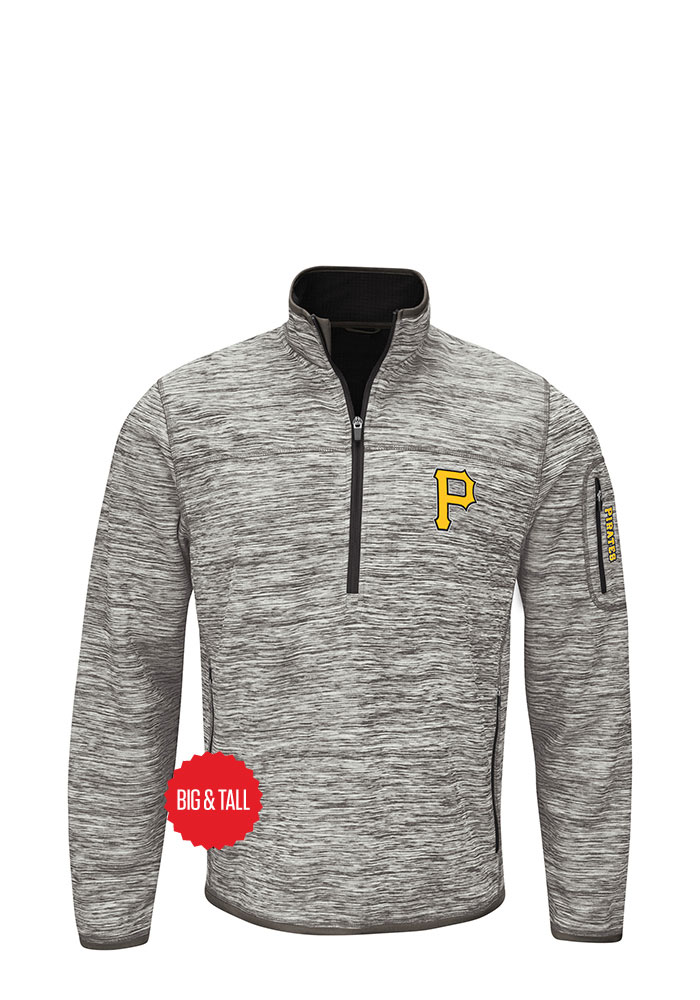 Pittsburgh Pirates Mens Grey Fast Pace Big and Tall Zip Sweatshirt - Image 1