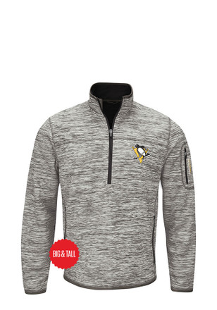 Pitt Penguins Mens Grey Fast Pace Zip Sweatshirt